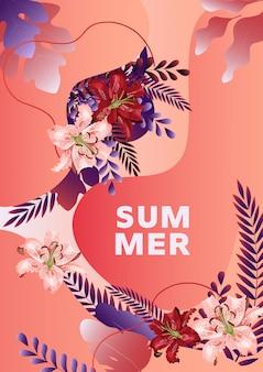 Cartaz de verão com flores de lírio, folhas e formas líquidas abstratas