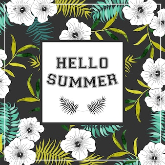 Cartaz de verão com flores tropicais.