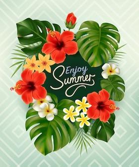 Cartaz de verão com folha de palmeira tropical e flores com letras de caligrafia. fundo tropical de verão. ilustração