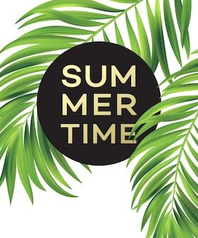 Cartaz de verão com folha de palmeira tropical.