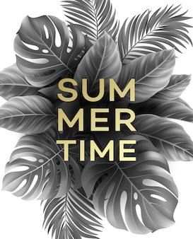 Cartaz de verão com folha de palmeira tropical