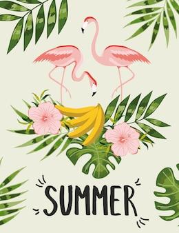 Cartaz de verão com folhas de palmeira.