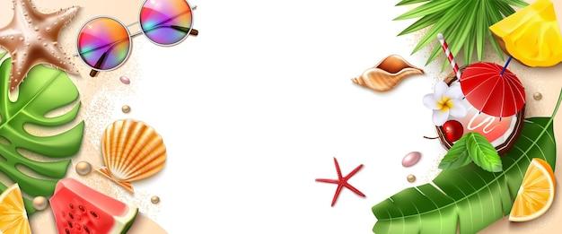 Cartaz de verão com folhas tropicais, frutas exóticas, concha, óculos de sol estrela do mar e coquetéis Vetor Premium