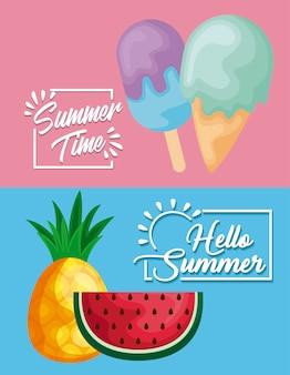 Cartaz de verão com melancia e ícones