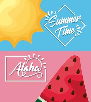 Cartaz de verão com melancia e sol