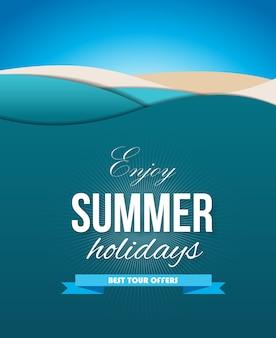 Cartaz de verão com ondas do mar, areia, praia e céu