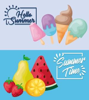 Cartaz de verão com sorvetes e frutas
