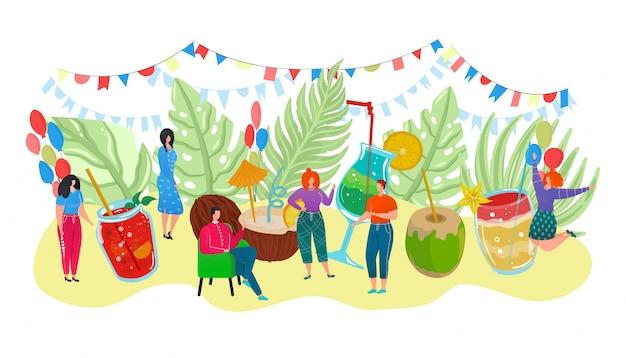Cartaz de verão coquetel com bebidas alcoólicas em copos e pessoas minúsculas comemorando a ilustração de evento de feriado. festa de coquetel com limão, coco, licor e refrescos.