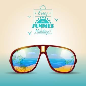 Cartaz de verão de óculos de sol