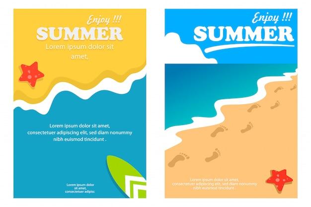 Cartaz de verão modelo e banner com fundo de praia