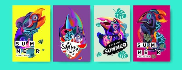 Cartaz de verão tropical vetor definido com cabeça de pássaro