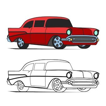 Cartaz de vetor clássico dos desenhos animados de muscle car e para livro de colorir