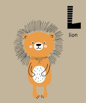 Cartaz de vetor com a letra do alfabeto com desenho de animal para crianças no estilo escandinavo