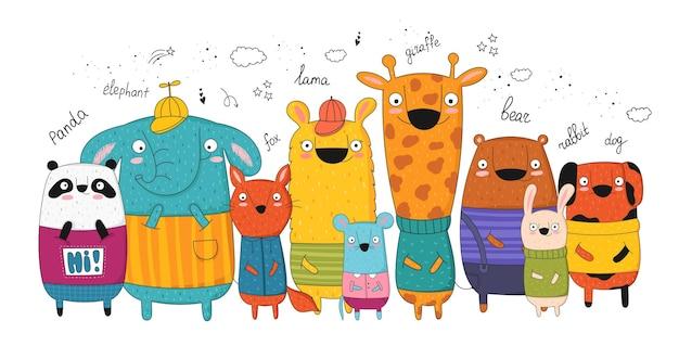 Cartaz de vetor com animais engraçados de desenho animado