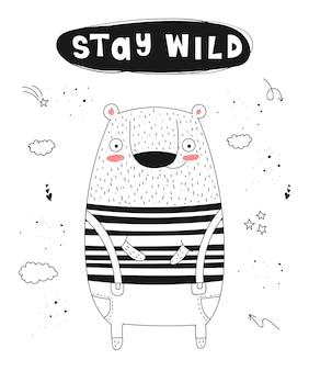 Cartaz de vetor com desenho animado animal engraçado e slogan moderno zoológico gráfico desenhado à mão