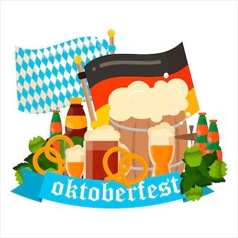 Cartaz de vetor de celebração oktoberfest. texto de vetor da oktoberfest. cerveja oktoberfest festival alemão barril de cerveja, cerveja em garrafa. banners festivos da oktoberfest, cabeçalhos com cerveja, salsicha, bandeira e pretzel.