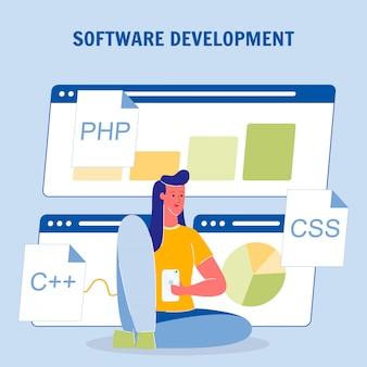 Cartaz de vetor de cor de desenvolvimento de software com texto