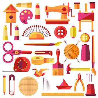 Cartaz de vetor de equipamentos para costura e artesanal