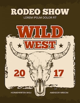 Cartaz de vetor de evento de rodeio cowboy vintage