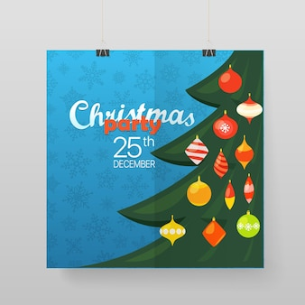 Cartaz de vetor de festa de natal. anúncio de festa