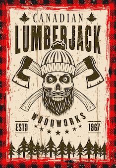 Cartaz de vetor de lenhador em estilo vintage com caveira barbada no chapéu de malha e dois machados cruzados. em camadas, textura e texto separados do grunge