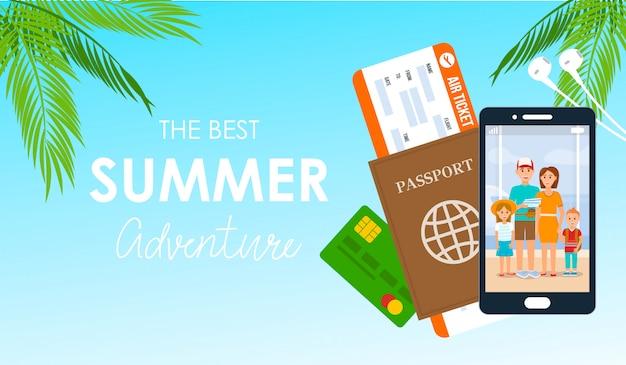 Cartaz de vetor de letras de aventura de verão