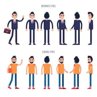 Cartaz de vetor de negócios e estilos casuais com homens
