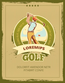 Cartaz de vetor de torneio de golfe vintage