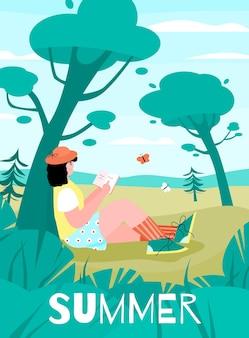 Cartaz de vetor de uma jovem relaxando em um dia de verão na natureza