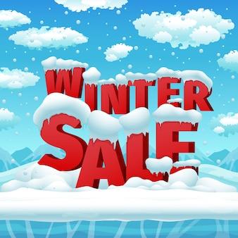 Cartaz de vetor de vendas de inverno. cartaz de desconto, temporada de banner, ilustração de promoção de inverno de venda