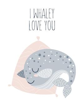 Cartaz de vetor desenhado à mão para decoração de berçário com baleia fofa e slogan adorável