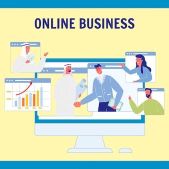 Cartaz de vetor dos desenhos animados de negócios on-line com texto