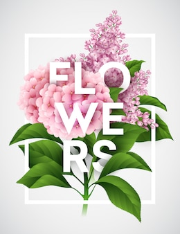 Cartaz de vetor elegante com lindas flores