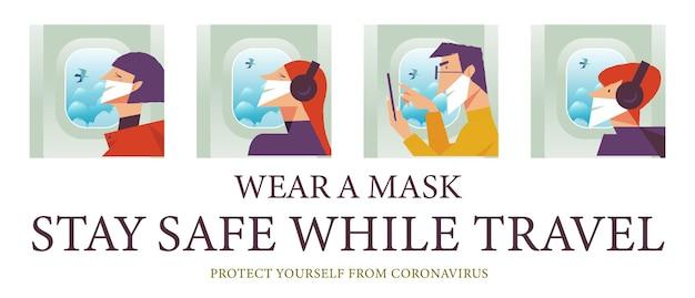 Cartaz de vetor incentivando as pessoas a usarem máscaras homens e mulheres com máscaras médicas voam no avião