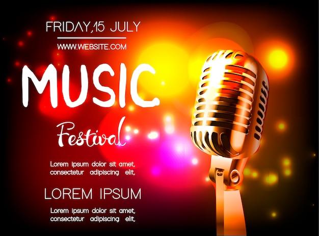 Cartaz de vetor para festival de música.