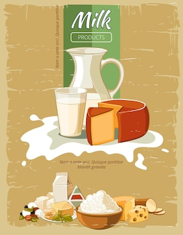 Cartaz de vetor vintage de produtos lácteos. queijo fresco natural orgânico, nutrição para ilustração de café da manhã