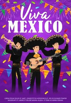 Cartaz de vetor viva méxico com banda mariachi.