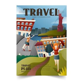 Cartaz de viagem a locais diferentes