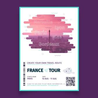Cartaz de viagem abstrato com foto da frança
