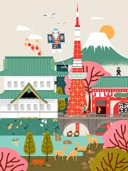 Cartaz de viagem adorável ao japão com atrações famosas
