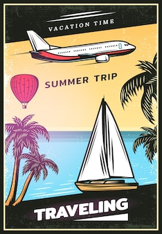 Cartaz de viagem colorido vintage