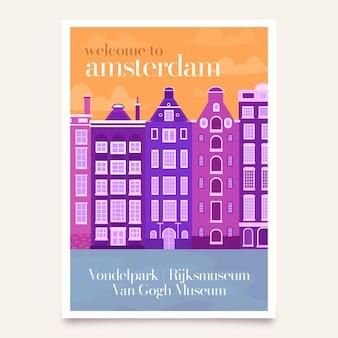 Cartaz de viagem com amsterdam
