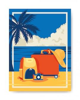 Cartaz de viagem com bagagem na praia