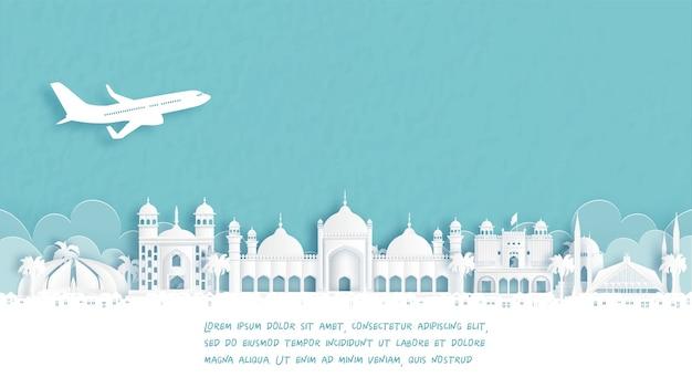 Cartaz de viagem com boas-vindas a islamabad, famoso ponto turístico do paquistão na ilustração do estilo de corte de papel.