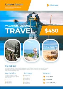 Cartaz de viagem com detalhes e foto