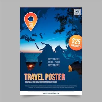 Cartaz de viagem com modelo de desconto