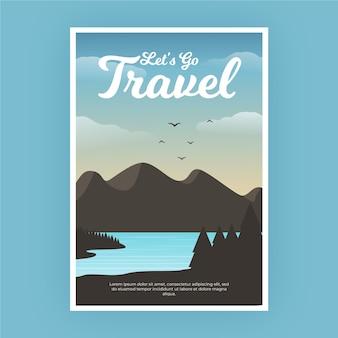 Cartaz de viagem com montanhas e pássaros