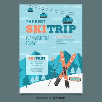 Cartaz de viagem de esqui de montanha
