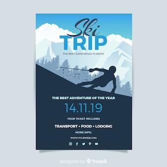 Cartaz de viagem de esqui de silhueta