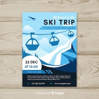 Cartaz de viagem de esqui funicular plana